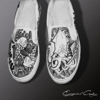 Custom shoes - sea creatures by surfender