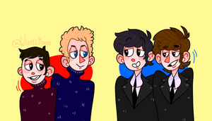 Simon and Garfunkel and Paul and John by KabouterPollewop