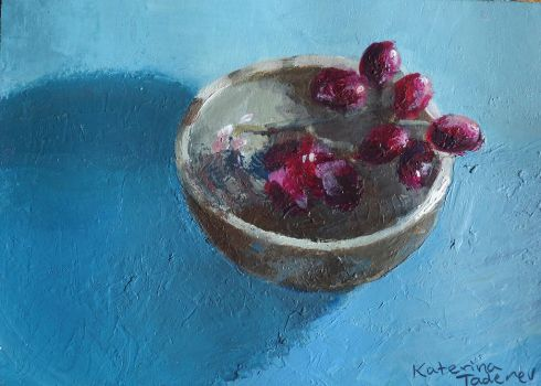 Fractured Fruit- Grapes in a Ceramic Bowl by KaterinARTadenev