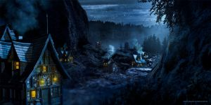Moonlight Village by MusesTouch-digiArt