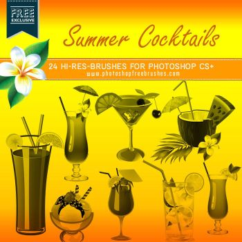 24 High-Res Summer Cocktails Photoshop Brushes by fiftyfivepixels