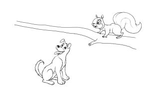 Disney Style Dog and Squirrel by AcridMonkry
