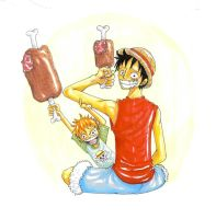 luffy and son by heivais