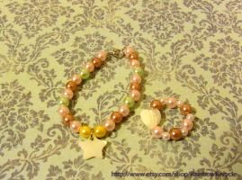 BJD necklace -Twinkle pastel and Matching bracelet by Gothic-Flum