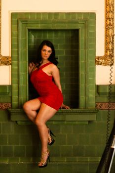 Red Dress - Green Tile Stock 3 by redvideo