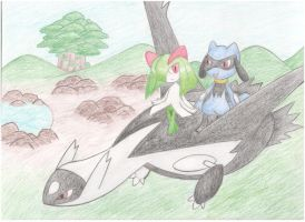 The Black Latios - Kirlia and Riolu by AquaShines