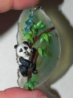 Baby Panda on Teal Agate Slice Necklace by Secretvixen