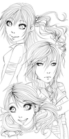 FFXIII Girld Lineart by kotlaska93