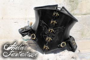Gothic leather fantasy corset with pouches by AtelierFantastique