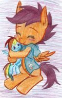 (MLP)Scootaloo Hugging RD by KrazyKari