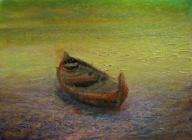 Boat on low water by Eluone
