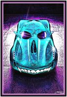 Corvette Skull Car in Blue by Geosammy