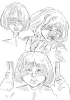 Hitgirl Caricature Sketches by NineTrails