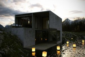 HouseinStone_night by brown-eye-architects
