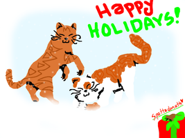 Happy Holidays from Thornpaw and Brightpaw by Spottedmoth321