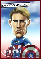 Chris Evans, Captain America - Caricature by alemarques21