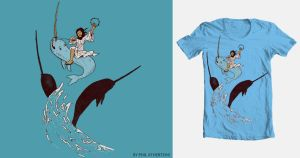 Jesus on a Narwhal T-Shirt by megapowerskills