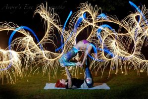 girl on girl acroyoga with some light play by Heather-Adamson