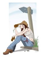Cow girl waiting by pungang