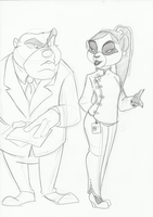 Chief agents Grizz and Xiong by FrothingLizard