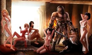 Conan in the the secret harem of Shem by raulovsky