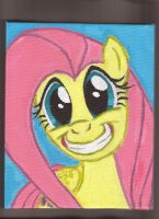 Fluttershy 6X10 inch acrylic on canvas portrait by Pwnyville