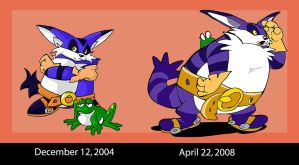 Big the Cat in 2004 and 2008 by dodgyrommer