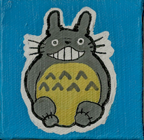 Totoro Mini Canvas Painting by awilli182