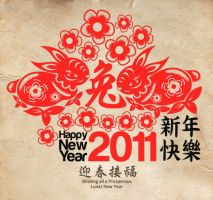 Paper cutting Rabbit CNY 2011 by Lemongraphic