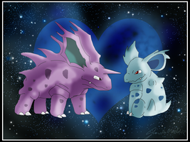 Nidorino and Nidorina by WeisseEdelweiss
