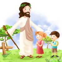 Jesus and Children 3 by CARFillustration