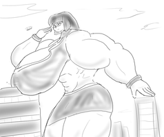 Sonya being huge and buff by Feyzer