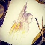 Watercolor sketch from Vietnam by Darey-Dawn