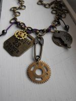'Magpie' steampunk necklace by Eisoptrophobic