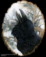 Raven portrait on basswood by pallanoph