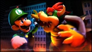 GM - Giant Luigi vs Giant Bowser by RatchetMario