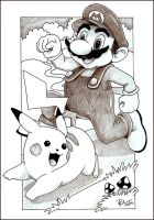 Pikachu and Mario by silken