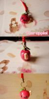 Cute Worm eating apple charm by Shattered-Earth