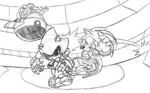 Tension... Hybrid vs. Metal Sonic WIP by LeatherRuffian