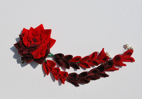 Mystery. Red Rose Kanzashi. by hanatsukuri