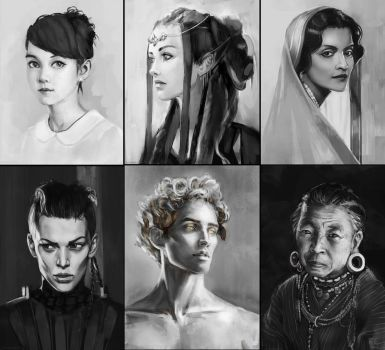 Portrait studies 6 by AdamaSto