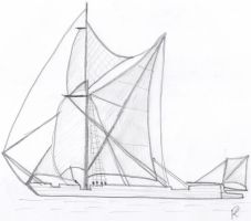 Thames Barge Sketch by Agnulessa
