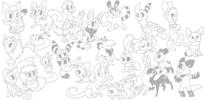 All my characters! Gotta draw them all! by Smushey