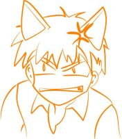 Angry cat Kyo by purplesockprincess