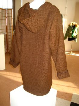 Woven Brown Coat - back by co1dpaws