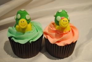 Turtle cupcakes by starry-design-studio