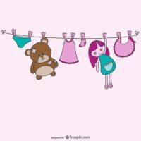 Baby clothesline vector by freebiespsd