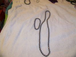Gray Pearl Necklace + Anklet by LadyRhianwriter