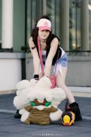 Touko, Whimsicott and Tepig - Pokemon cosplay by Rael-chan89