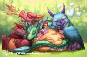 Little girl sleep with dragons by kongyi